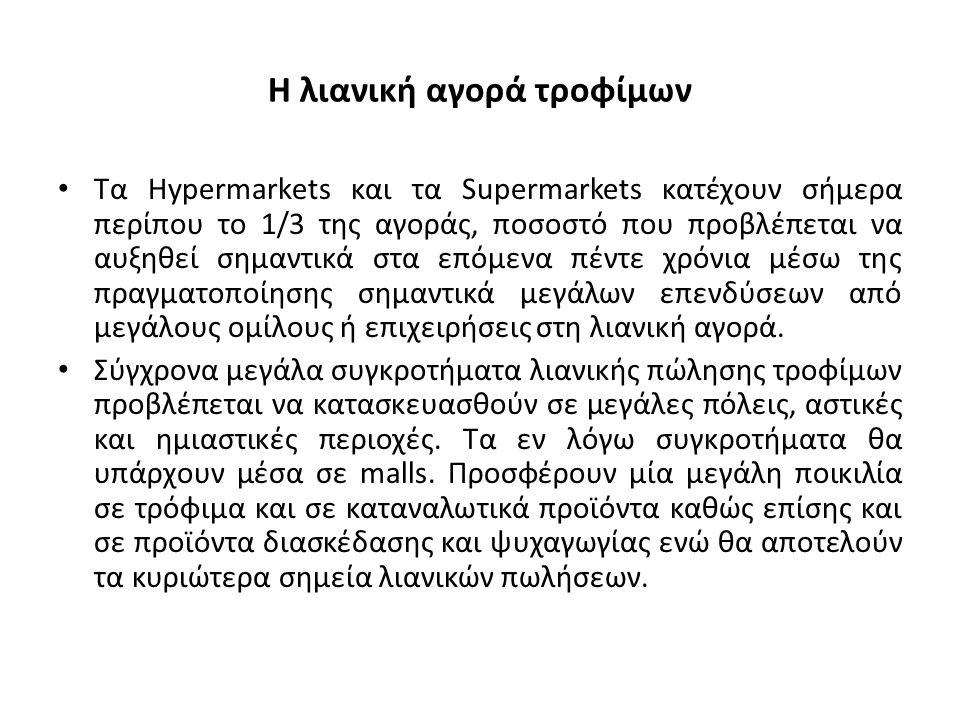 Η λιανική αγορά τροφίμων Τα Hypermarkets και τα Supermarkets κατέχουν σήμερα περίπου το 1/3 της αγοράς, ποσοστό που προβλέπεται να αυξηθεί σημαντικά στα επόμενα πέντε χρόνια μέσω της πραγματοποίησης σημαντικά μεγάλων επενδύσεων από μεγάλους ομίλους ή επιχειρήσεις στη λιανική αγορά.