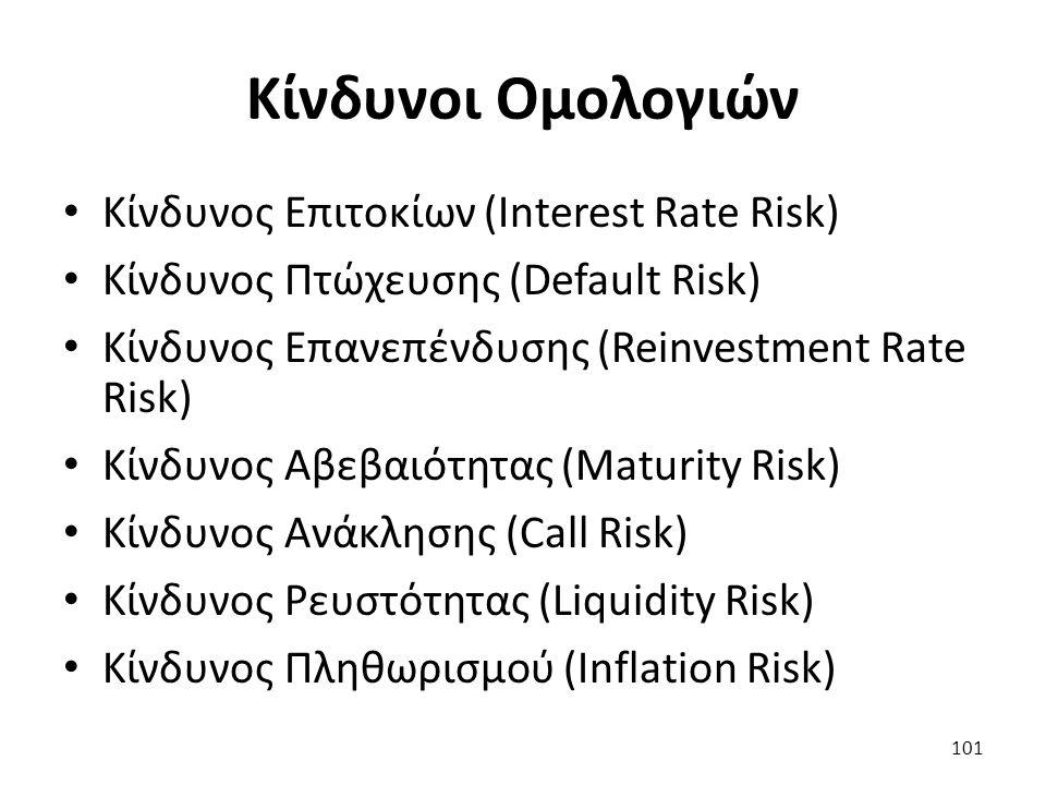 Κίνδυνοι Ομολογιών Κίνδυνος Επιτοκίων (Interest Rate Risk) Κίνδυνος Πτώχευσης (Default Risk) Κίνδυνος Επανεπένδυσης (Reinvestment Rate Risk) Κίνδυνος Αβεβαιότητας (Maturity Risk) Κίνδυνος Ανάκλησης (Call Risk) Κίνδυνος Ρευστότητας (Liquidity Risk) Κίνδυνος Πληθωρισμού (Inflation Risk) 101