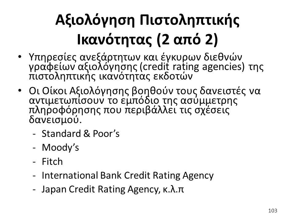 Αξιολόγηση Πιστοληπτικής Ικανότητας (2 από 2) Υπηρεσίες ανεξάρτητων και έγκυρων διεθνών γραφείων αξιολόγησης (credit rating agencies) της πιστοληπτικής ικανότητας εκδοτών Οι Οίκοι Αξιολόγησης βοηθούν τους δανειστές να αντιμετωπίσουν το εμπόδιο της ασύμμετρης πληροφόρησης που περιβάλλει τις σχέσεις δανεισμού.