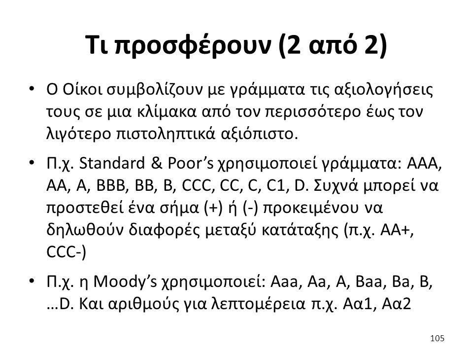 Τι προσφέρουν (2 από 2) Ο Οίκοι συμβολίζουν με γράμματα τις αξιολογήσεις τους σε μια κλίμακα από τον περισσότερο έως τον λιγότερο πιστοληπτικά αξιόπιστο.