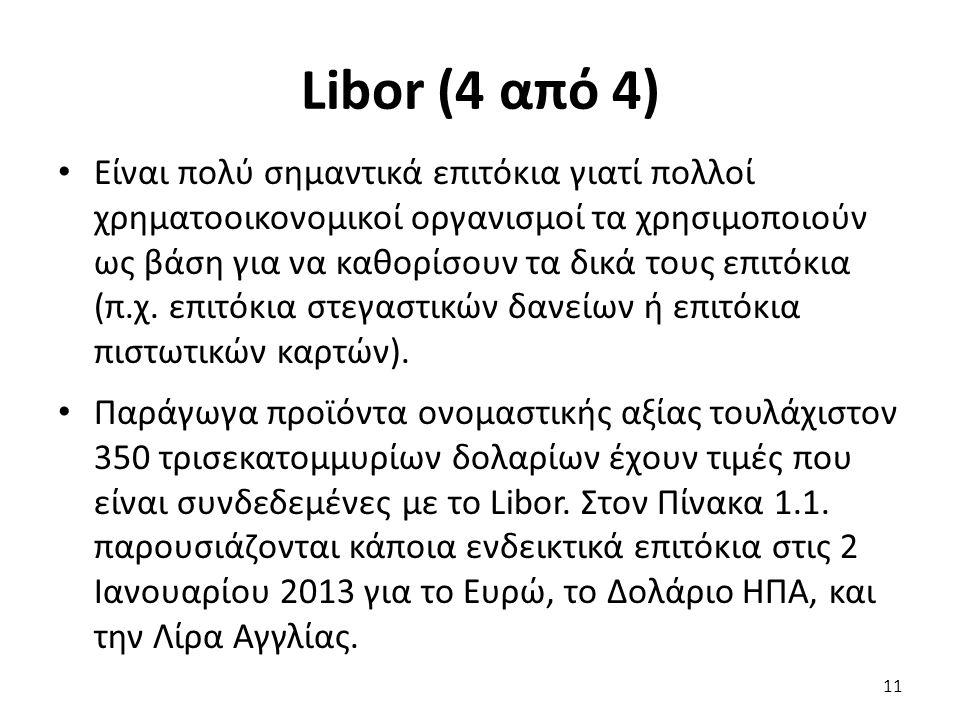 Libor (4 από 4) Είναι πολύ σημαντικά επιτόκια γιατί πολλοί χρηματοοικονομικοί οργανισμοί τα χρησιμοποιούν ως βάση για να καθορίσουν τα δικά τους επιτόκια (π.χ.