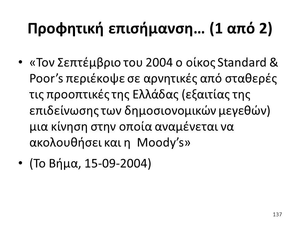 Προφητική επισήμανση… (1 από 2) «Τον Σεπτέμβριο του 2004 ο οίκος Standard & Poor's περιέκοψε σε αρνητικές από σταθερές τις προοπτικές της Ελλάδας (εξαιτίας της επιδείνωσης των δημοσιονομικών μεγεθών) μια κίνηση στην οποία αναμένεται να ακολουθήσει και η Moody's» (Το Βήμα, 15-09-2004) 137