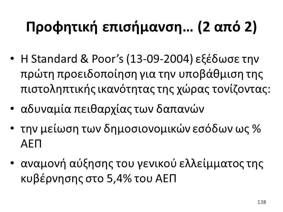 Προφητική επισήμανση… (2 από 2) Η Standard & Poor's (13-09-2004) εξέδωσε την πρώτη προειδοποίηση για την υποβάθμιση της πιστοληπτικής ικανότητας της χώρας τονίζοντας: αδυναμία πειθαρχίας των δαπανών την μείωση των δημοσιονομικών εσόδων ως % ΑΕΠ αναμονή αύξησης του γενικού ελλείμματος της κυβέρνησης στο 5,4% του ΑΕΠ 138