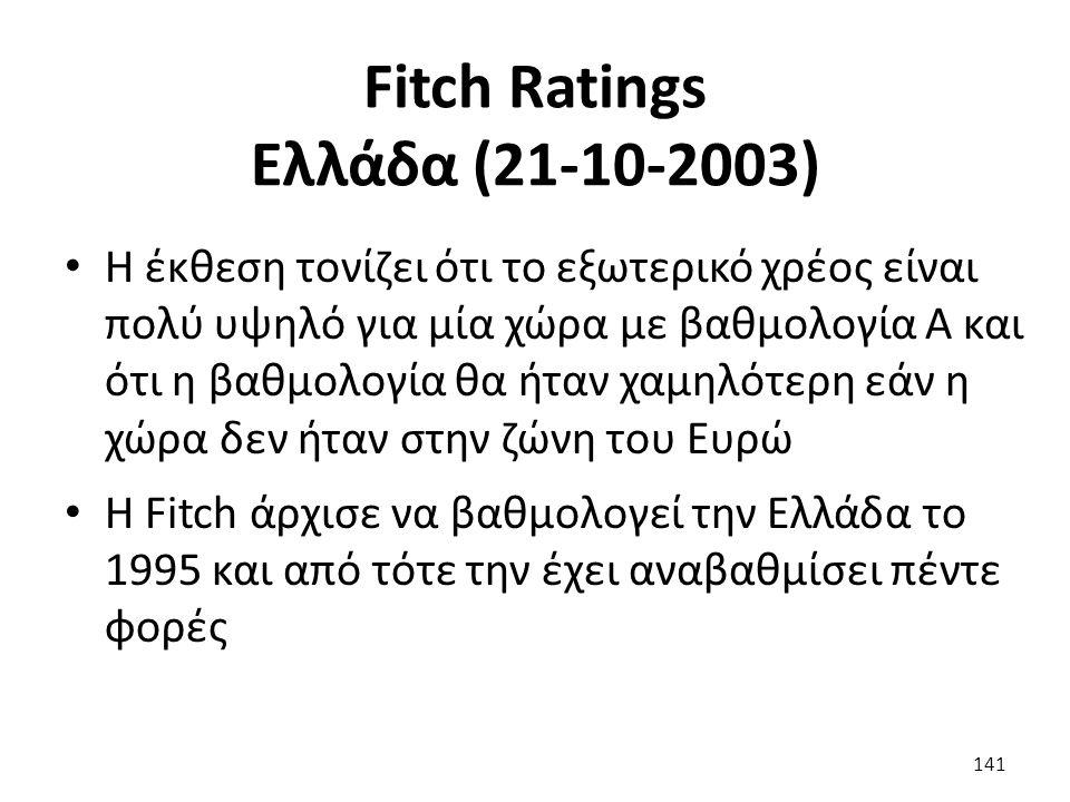 Fitch Ratings Ελλάδα (21-10-2003) Η έκθεση τονίζει ότι το εξωτερικό χρέος είναι πολύ υψηλό για μία χώρα με βαθμολογία Α και ότι η βαθμολογία θα ήταν χαμηλότερη εάν η χώρα δεν ήταν στην ζώνη του Ευρώ Η Fitch άρχισε να βαθμολογεί την Ελλάδα το 1995 και από τότε την έχει αναβαθμίσει πέντε φορές 141
