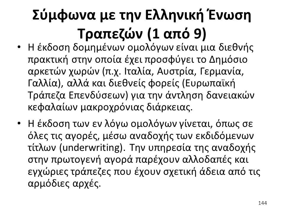 Σύμφωνα με την Ελληνική Ένωση Τραπεζών (1 από 9) Η έκδοση δομημένων ομολόγων είναι μια διεθνής πρακτική στην οποία έχει προσφύγει το Δημόσιο αρκετών χωρών (π.χ.