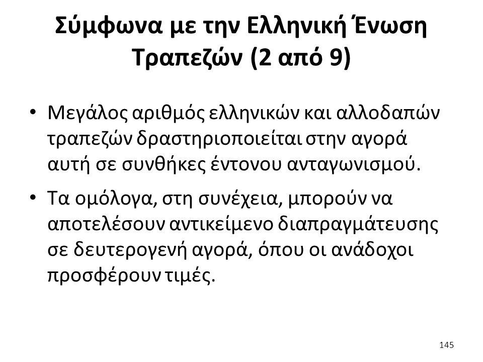 Σύμφωνα με την Ελληνική Ένωση Τραπεζών (2 από 9) Μεγάλος αριθμός ελληνικών και αλλοδαπών τραπεζών δραστηριοποιείται στην αγορά αυτή σε συνθήκες έντονου ανταγωνισμού.