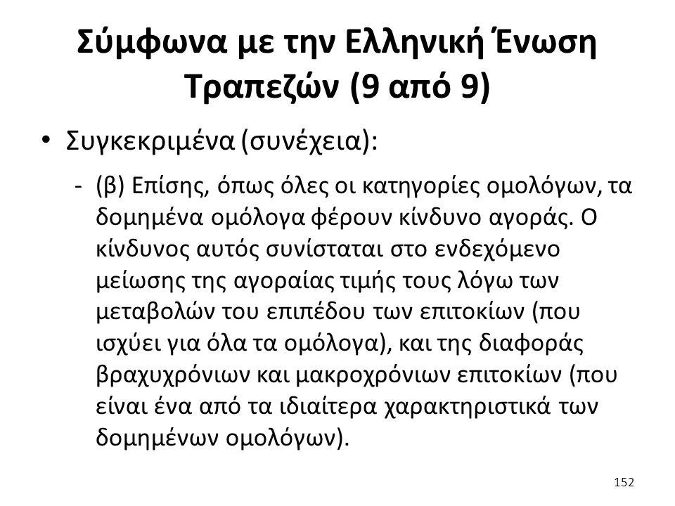 Σύμφωνα με την Ελληνική Ένωση Τραπεζών (9 από 9) Συγκεκριμένα (συνέχεια): -(β) Επίσης, όπως όλες οι κατηγορίες ομολόγων, τα δομημένα ομόλογα φέρουν κίνδυνο αγοράς.