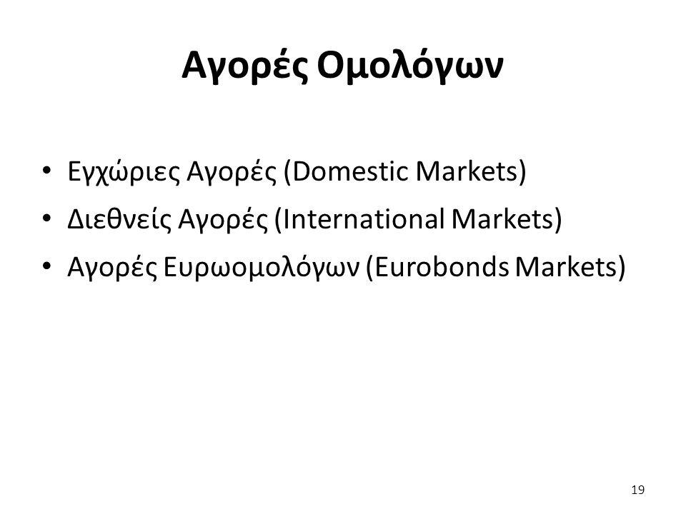 Αγορές Ομολόγων Εγχώριες Αγορές (Domestic Markets) Διεθνείς Αγορές (International Markets) Αγορές Ευρωομολόγων (Eurobonds Markets) 19