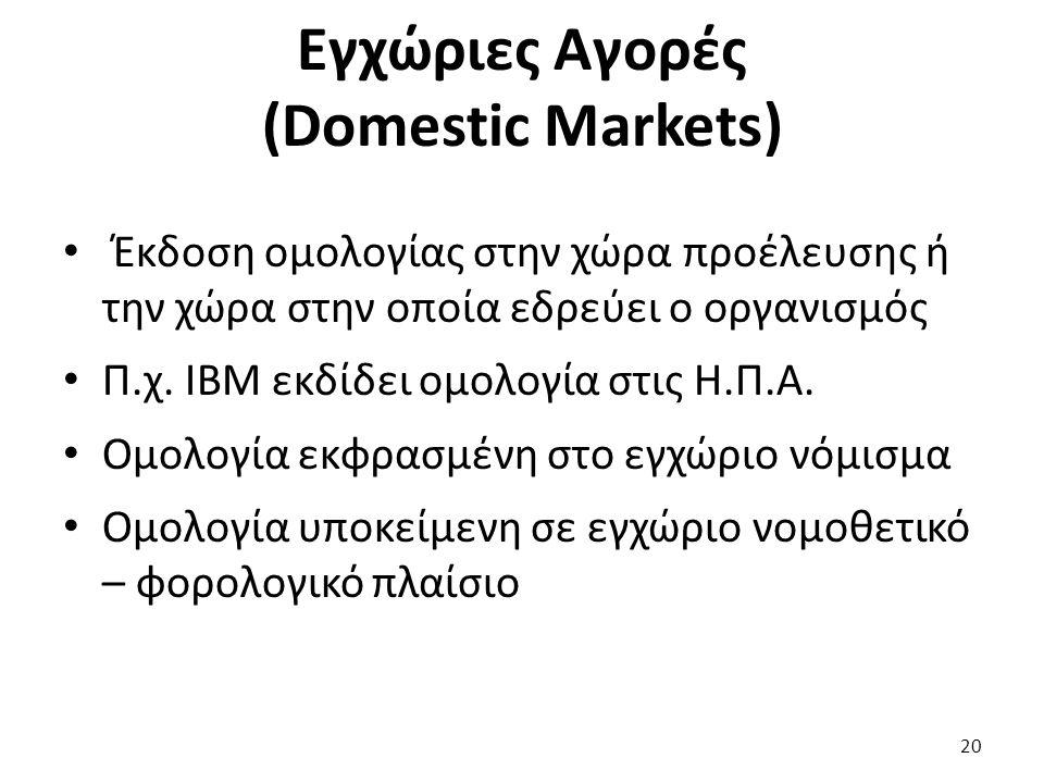 Εγχώριες Αγορές (Domestic Markets) Έκδοση ομολογίας στην χώρα προέλευσης ή την χώρα στην οποία εδρεύει ο οργανισμός Π.χ.