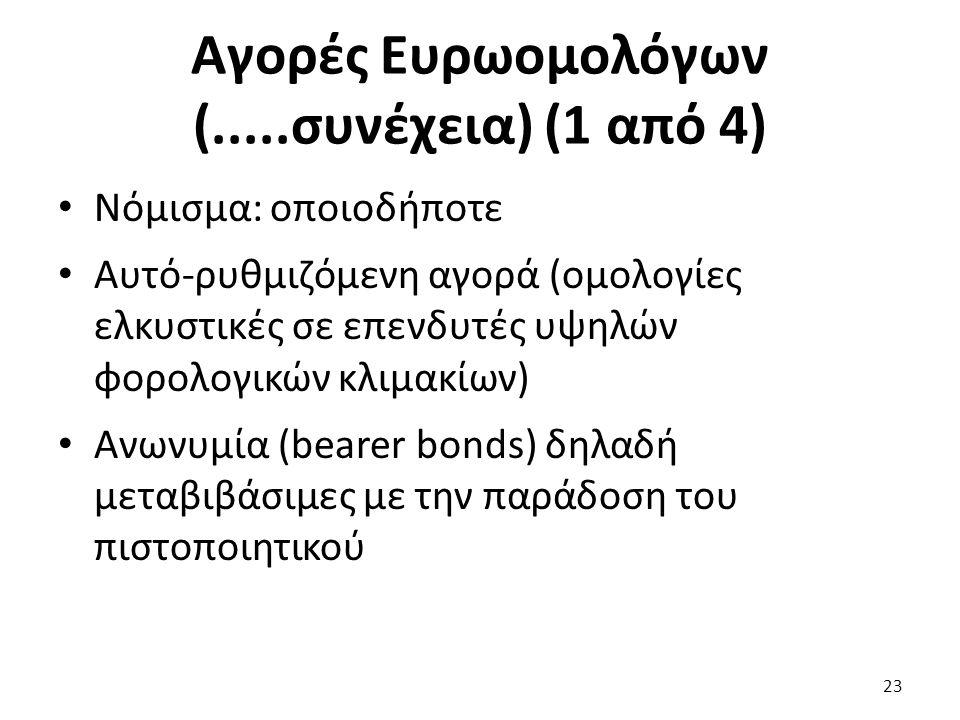 Αγορές Ευρωομολόγων (.....συνέχεια) (1 από 4) Νόμισμα: οποιοδήποτε Αυτό-ρυθμιζόμενη αγορά (ομολογίες ελκυστικές σε επενδυτές υψηλών φορολογικών κλιμακίων) Ανωνυμία (bearer bonds) δηλαδή μεταβιβάσιμες με την παράδοση του πιστοποιητικού 23