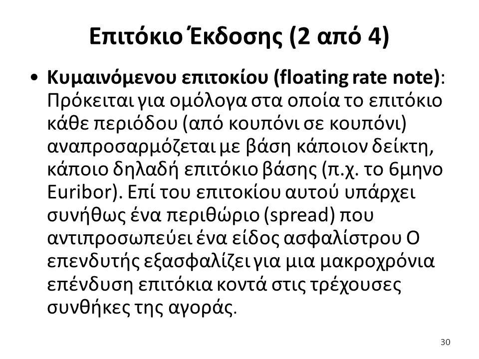 Επιτόκιο Έκδοσης (2 από 4) Κυμαινόμενου επιτοκίου (floating rate note): Πρόκειται για ομόλογα στα οποία το επιτόκιο κάθε περιόδου (από κουπόνι σε κουπόνι) αναπροσαρμόζεται με βάση κάποιον δείκτη, κάποιο δηλαδή επιτόκιο βάσης (π.χ.
