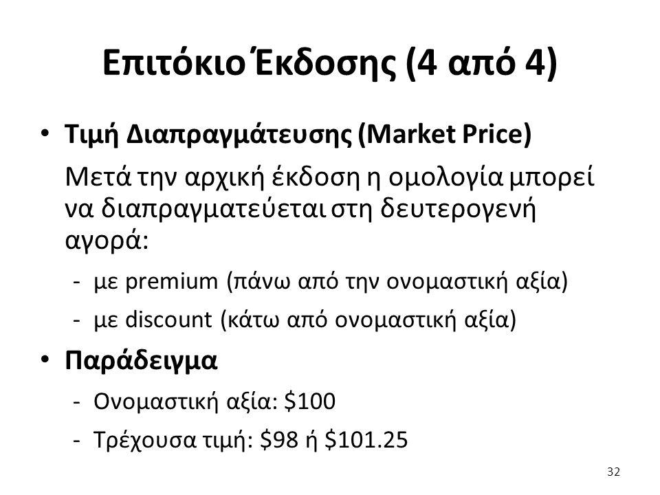 Επιτόκιο Έκδοσης (4 από 4) Τιμή Διαπραγμάτευσης (Market Price) Μετά την αρχική έκδοση η ομολογία μπορεί να διαπραγματεύεται στη δευτερογενή αγορά: -με premium (πάνω από την ονομαστική αξία) -με discount (κάτω από ονομαστική αξία) Παράδειγμα -Ονομαστική αξία: $100 -Τρέχουσα τιμή: $98 ή $101.25 32