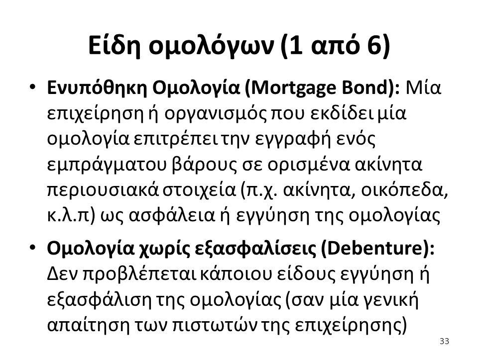 Είδη ομολόγων (1 από 6) Ενυπόθηκη Ομολογία (Mortgage Bond): Μία επιχείρηση ή οργανισμός που εκδίδει μία ομολογία επιτρέπει την εγγραφή ενός εμπράγματου βάρους σε ορισμένα ακίνητα περιουσιακά στοιχεία (π.χ.