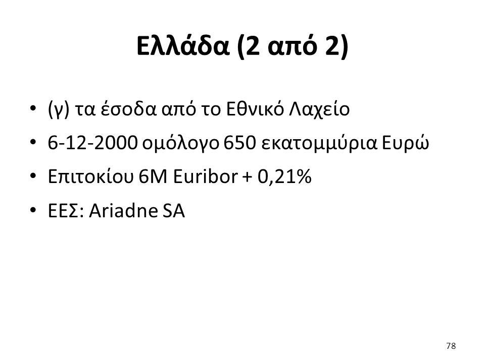 Ελλάδα (2 από 2) (γ) τα έσοδα από το Εθνικό Λαχείο 6-12-2000 ομόλογο 650 εκατομμύρια Ευρώ Επιτοκίου 6M Euribor + 0,21% ΕΕΣ: Ariadne SA 78