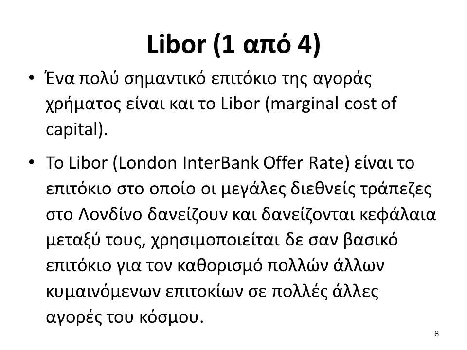 Libor (1 από 4) Ένα πολύ σημαντικό επιτόκιο της αγοράς χρήματος είναι και το Libor (marginal cost of capital).