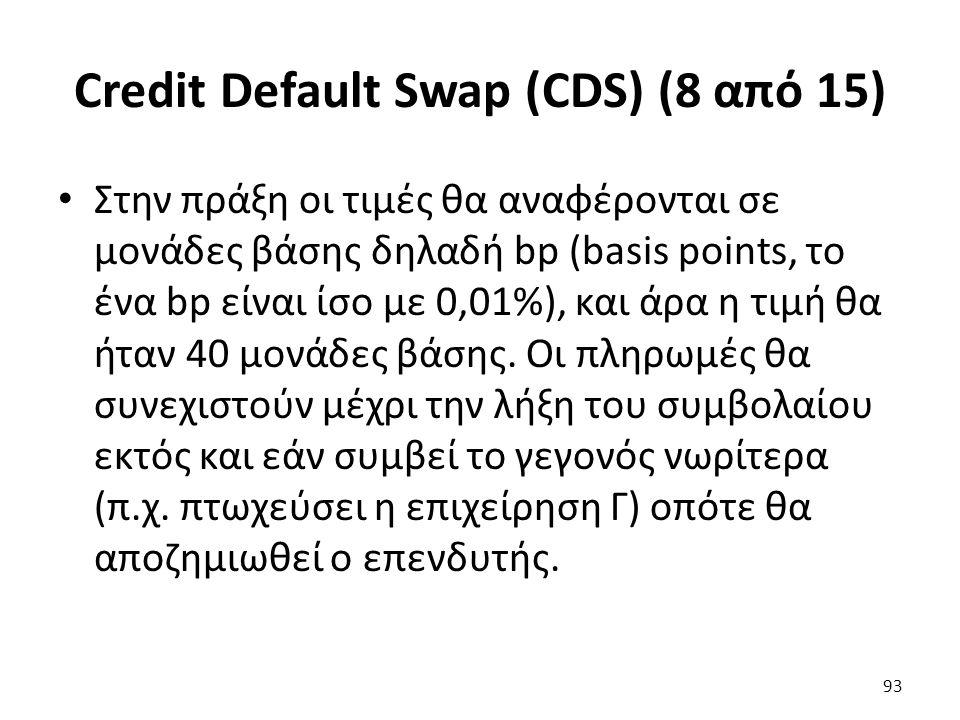 Credit Default Swap (CDS) (8 από 15) Στην πράξη οι τιμές θα αναφέρονται σε μονάδες βάσης δηλαδή bp (basis points, το ένα bp είναι ίσο με 0,01%), και άρα η τιμή θα ήταν 40 μονάδες βάσης.