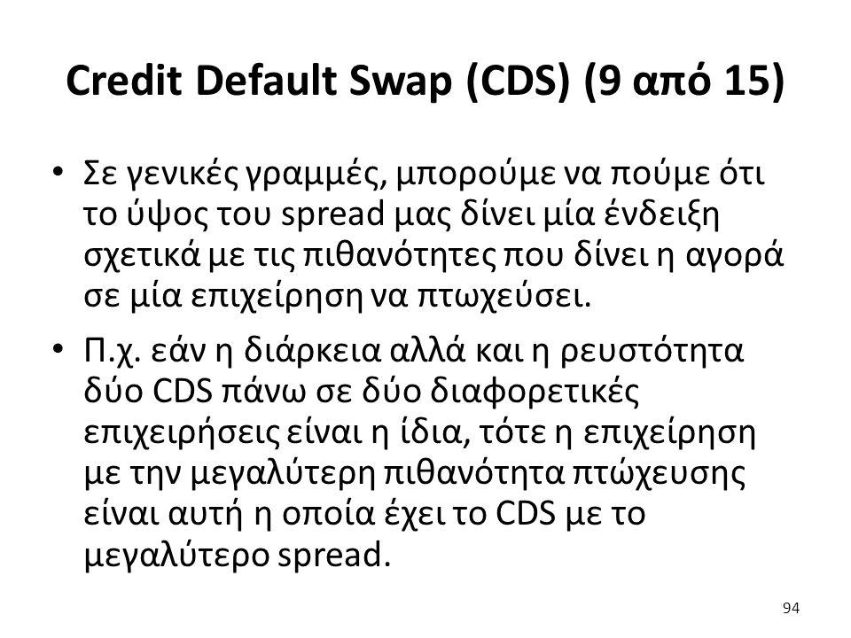 Credit Default Swap (CDS) (9 από 15) Σε γενικές γραμμές, μπορούμε να πούμε ότι το ύψος του spread μας δίνει μία ένδειξη σχετικά με τις πιθανότητες που δίνει η αγορά σε μία επιχείρηση να πτωχεύσει.