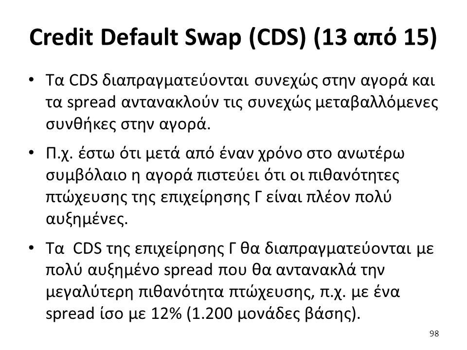 Credit Default Swap (CDS) (13 από 15) Τα CDS διαπραγματεύονται συνεχώς στην αγορά και τα spread αντανακλούν τις συνεχώς μεταβαλλόμενες συνθήκες στην αγορά.