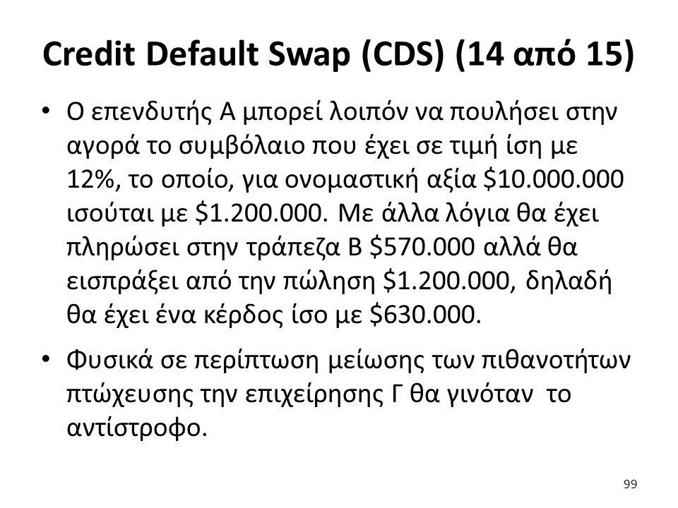 Credit Default Swap (CDS) (14 από 15) Ο επενδυτής Α μπορεί λοιπόν να πουλήσει στην αγορά το συμβόλαιο που έχει σε τιμή ίση με 12%, το οποίο, για ονομαστική αξία $10.000.000 ισούται με $1.200.000.