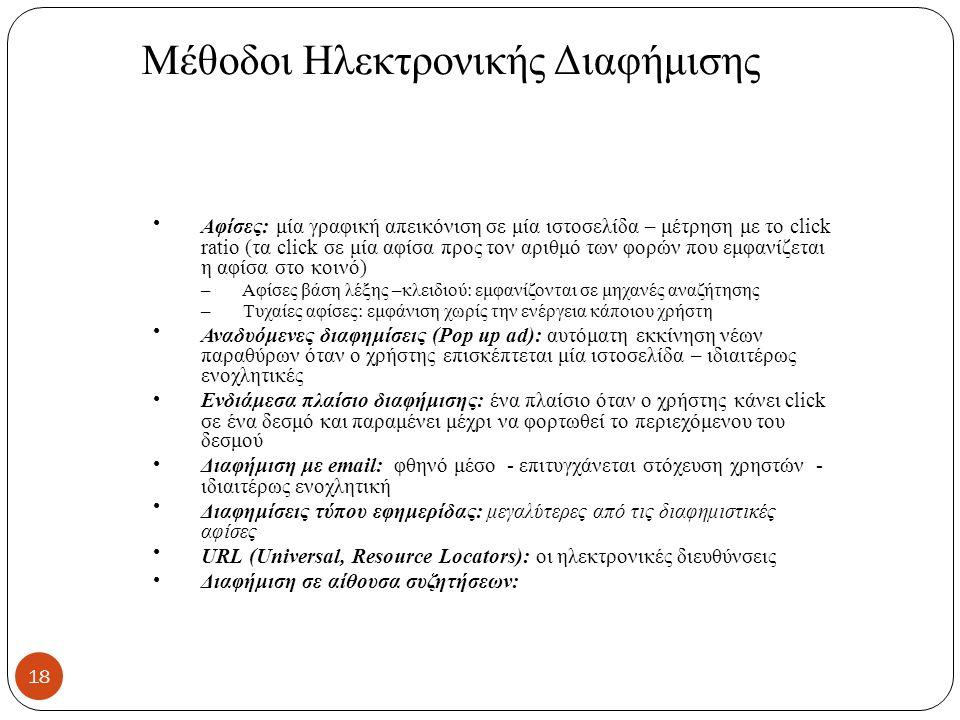Mέθοδοι Ηλεκτρονικής Διαφήμισης Αφίσες: μία γραφική απεικόνιση σε μία ιστοσελίδα – μέτρηση με το click ratio (τα click σε μία αφίσα προς τον αριθμό των φορών που εμφανίζεται η αφίσα στο κοινό) – Αφίσες βάση λέξης –κλειδιού: εμφανίζονται σε μηχανές αναζήτησης – Τυχαίες αφίσες: εμφάνιση χωρίς την ενέργεια κάποιου χρήστη Αναδυόμενες διαφημίσεις (Pop up ad): αυτόματη εκκίνηση νέων παραθύρων όταν ο χρήστης επισκέπτεται μία ιστοσελίδα – ιδιαιτέρως ενοχλητικές Ενδιάμεσα πλαίσιο διαφήμισης: ένα πλαίσιο όταν ο χρήστης κάνει click σε ένα δεσμό και παραμένει μέχρι να φορτωθεί το περιεχόμενου του δεσμού Διαφήμιση με email: φθηνό μέσο - επιτυγχάνεται στόχευση χρηστών - ιδιαιτέρως ενοχλητική Διαφημίσεις τύπου εφημερίδας: μεγαλύτερες από τις διαφημιστικές αφίσες URL (Universal, Resource Locators): οι ηλεκτρονικές διευθύνσεις Διαφήμιση σε αίθουσα συζητήσεων: 18