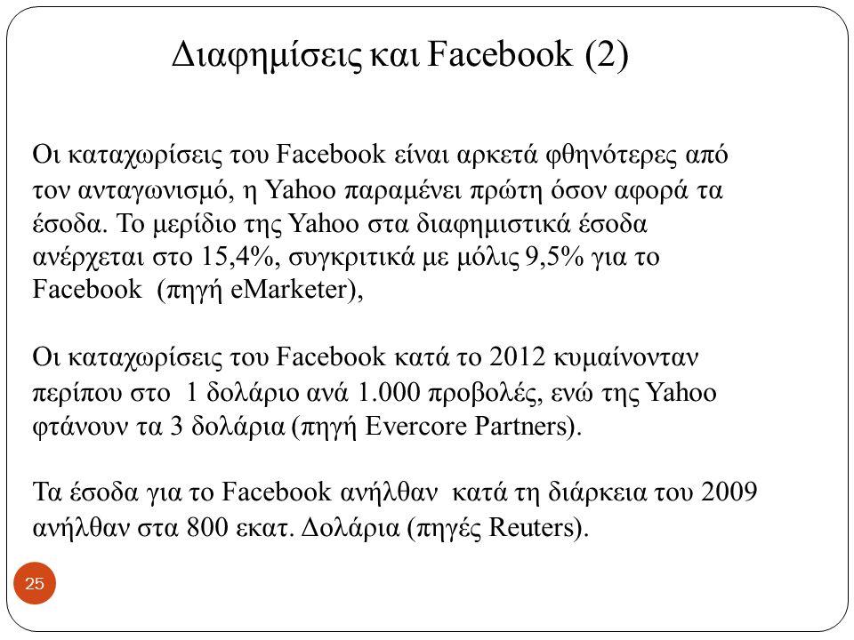 Διαφημίσεις και Facebook (2) Οι καταχωρίσεις του Facebook είναι αρκετά φθηνότερες από τον ανταγωνισμό, η Yahoo παραμένει πρώτη όσον αφορά τα έσοδα.