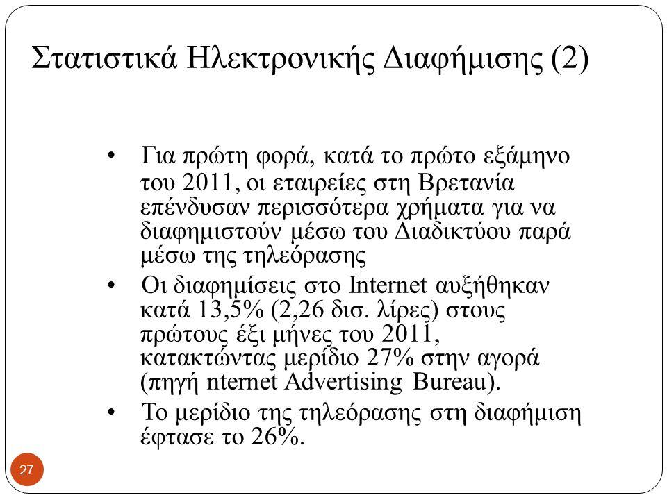 Στατιστικά Ηλεκτρονικής Διαφήμισης (2) Για πρώτη φορά, κατά το πρώτο εξάμηνο του 2011, οι εταιρείες στη Βρετανία επένδυσαν περισσότερα χρήματα για να διαφημιστούν μέσω του Διαδικτύου παρά μέσω της τηλεόρασης Οι διαφημίσεις στο Internet αυξήθηκαν κατά 13,5% (2,26 δισ.