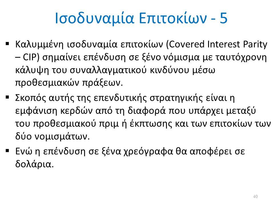 Ισοδυναμία Επιτοκίων - 5  Καλυμμένη ισοδυναμία επιτοκίων (Covered Interest Parity – CIP) σημαίνει επένδυση σε ξένο νόμισμα με ταυτόχρονη κάλυψη του συναλλαγματικού κινδύνου μέσω προθεσμιακών πράξεων.