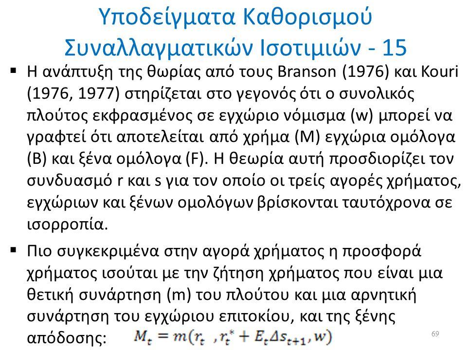 Υποδείγματα Καθορισμού Συναλλαγματικών Ισοτιμιών - 15  Η ανάπτυξη της θωρίας από τους Branson (1976) και Kouri (1976, 1977) στηρίζεται στο γεγονός ότι ο συνολικός πλούτος εκφρασμένος σε εγχώριο νόμισμα (w) μπορεί να γραφτεί ότι αποτελείται από χρήμα (Μ) εγχώρια ομόλογα (Β) και ξένα ομόλογα (F).