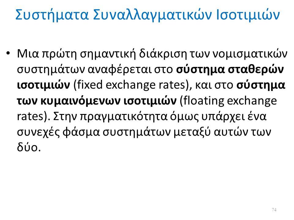 Συστήματα Συναλλαγματικών Ισοτιμιών Μια πρώτη σημαντική διάκριση των νομισματικών συστημάτων αναφέρεται στο σύστημα σταθερών ισοτιμιών (fixed exchange rates), και στο σύστημα των κυμαινόμενων ισοτιμιών (floating exchange rates).