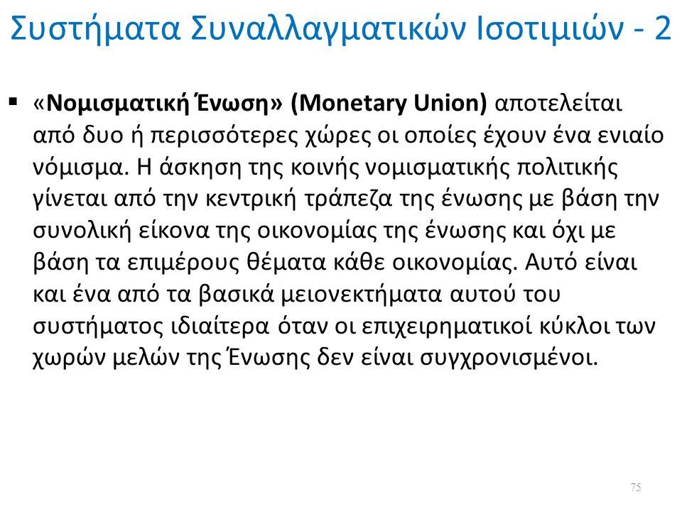 Συστήματα Συναλλαγματικών Ισοτιμιών - 2  «Νομισματική Ένωση» (Monetary Union) αποτελείται από δυο ή περισσότερες χώρες οι οποίες έχουν ένα ενιαίο νόμισμα.
