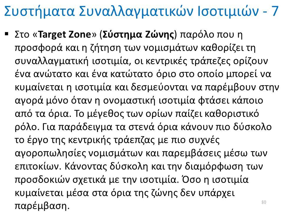 Συστήματα Συναλλαγματικών Ισοτιμιών - 7  Στο «Target Zone» (Σύστημα Ζώνης) παρόλο που η προσφορά και η ζήτηση των νομισμάτων καθορίζει τη συναλλαγματική ισοτιμία, οι κεντρικές τράπεζες ορίζουν ένα ανώτατο και ένα κατώτατο όριο στο οποίο μπορεί να κυμαίνεται η ισοτιμία και δεσμεύονται να παρέμβουν στην αγορά μόνο όταν η ονομαστική ισοτιμία φτάσει κάποιο από τα όρια.