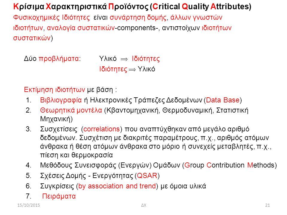 Κρίσιμα Χαρακτηριστικά Προϊόντος (Critical Quality Attributes) Φυσικοχημικές Ιδιότητες είναι συνάρτηση δομής, άλλων γνωστών ιδιοτήτων, αναλογία συστατικών-components-, αντιστοίχων ιδιοτήτων συστατικών) Δύο προβλήματα:Υλικό  Ιδιότητες Ιδιότητες  Υλικό Εκτίμηση ιδιοτήτων με βάση : 1.Βιβλιογραφία ή Ηλεκτρονικές Τράπεζες Δεδομένων (Data Base) 2.Θεωρητικά μοντέλα (Κβαντομηχανική, Θερμοδυναμική, Στατιστική Μηχανική) 3.Συσχετίσεις (correlations) που αναπτύχθηκαν από μεγάλο αριθμό δεδομένων.