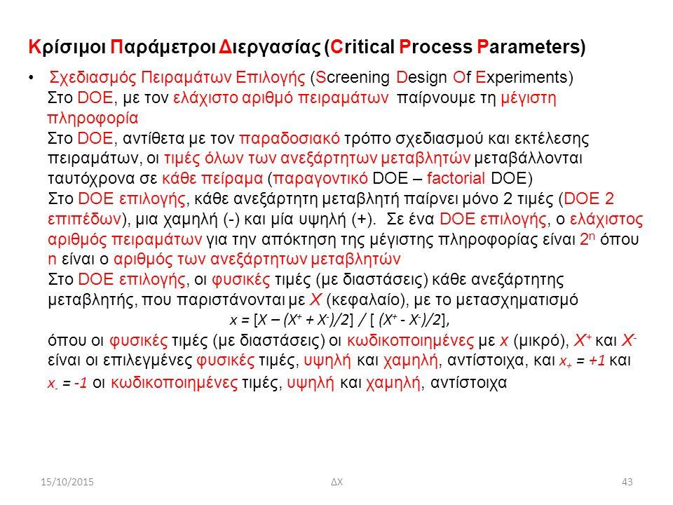 15/10/2015ΔΧ43 Κρίσιμοι Παράμετροι Διεργασίας (Critical Process Parameters) Σχεδιασμός Πειραμάτων Επιλογής (Screening Design Of Experiments) Στο DOE, με τον ελάχιστο αριθμό πειραμάτων παίρνουμε τη μέγιστη πληροφορία Στο DOE, αντίθετα με τον παραδοσιακό τρόπο σχεδιασμού και εκτέλεσης πειραμάτων, οι τιμές όλων των ανεξάρτητων μεταβλητών μεταβάλλονται ταυτόχρονα σε κάθε πείραμα (παραγοντικό DOE – factorial DOE) Στο DOE επιλογής, κάθε ανεξάρτητη μεταβλητή παίρνει μόνο 2 τιμές (DOE 2 επιπέδων), μια χαμηλή (-) και μία υψηλή (+).