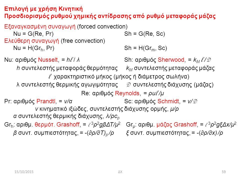 15/10/2015ΔΧ59 Επιλογή με χρήση Κινητική Προσδιορισμός ρυθμού χημικής αντίδρασης από ρυθμό μεταφοράς μάζας Εξαναγκασμένη συναγωγή (forced convection) Nu = G(Re, Pr)Sh = G(Re, Sc) Ελεύθερη συναγωγή (free convection) Nu = H(Gr h, Pr)Sh = H(Gr m, Sc) Νu: αριθμός Nusselt, = h l / λSh: αριθμός Sherwood, = k M l / D h συντελεστής μεταφοράς θερμότητας k M συντελεστής μεταφοράς μάζας l χαρακτηριστικό μήκος (μήκος ή διάμετρος σωλήνα) λ συντελεστής θερμικής αγωγιμότητας D συντελεστής διάχυσης (μάζας) Re: αριθμός Reynolds, = ρu l /μ Pr: αριθμός Prandtl, = ν/αSc: αριθμός Schmidt, = ν/ D ν κινηματικό ιξώδες, συντελεστής διάχυσης ορμής, μ/ρ α συντελεστής θερμικής διάχυσης, λ/ρc p Gr h : αριθμ.