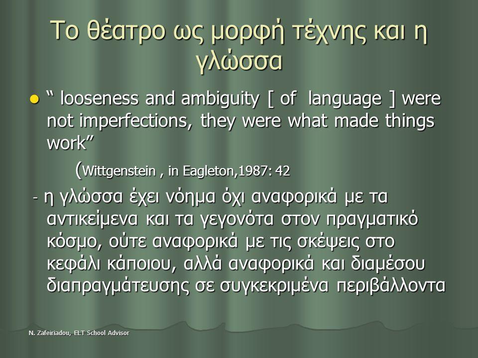 "N. Zafeiriadou, ELT School Advisor Το θέατρο ως μορφή τέχνης και η γλώσσα "" looseness and ambiguity [ of language ] were not imperfections, they were"