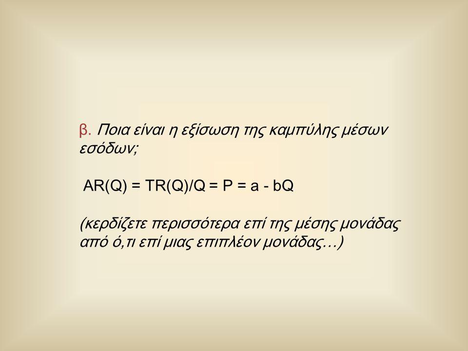 β. Ποια είναι η εξίσωση της καμπύλης μέσων εσόδων; AR(Q) = TR(Q)/Q = P = a - bQ (κερδίζετε περισσότερα επί της μέσης μονάδας από ό,τι επί μιας επιπλέο