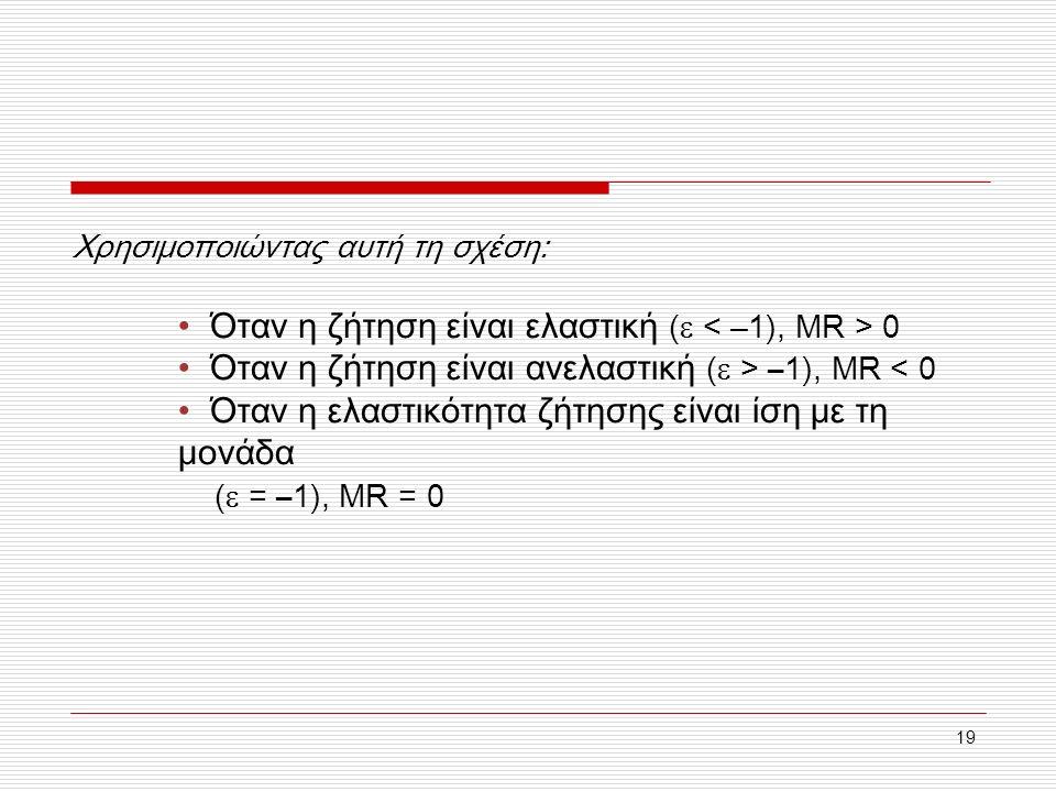 19 Χρησιμοποιώντας αυτή τη σχέση: Όταν η ζήτηση είναι ελαστική (  0 Όταν η ζήτηση είναι ανελαστική (  > –1), MR < 0 Όταν η ελαστικότητα ζήτησης είναι ίση με τη μονάδα (  = –1), MR = 0