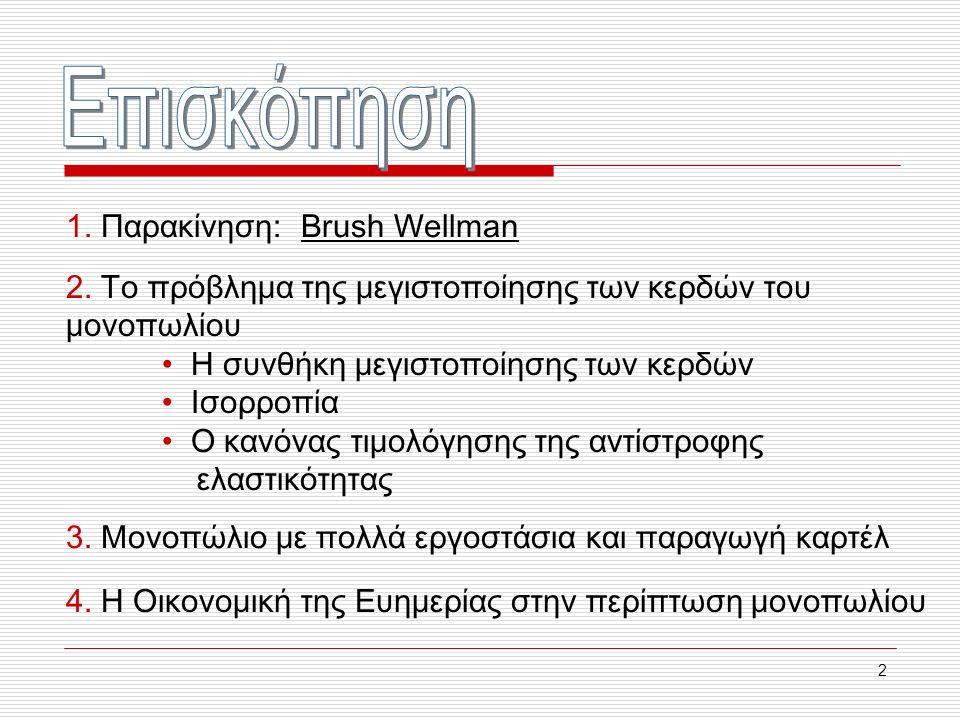 2 1. Παρακίνηση: Brush Wellman 2. Το πρόβλημα της μεγιστοποίησης των κερδών του μονοπωλίου Η συνθήκη μεγιστοποίησης των κερδών Ισορροπία Ο κανόνας τιμ