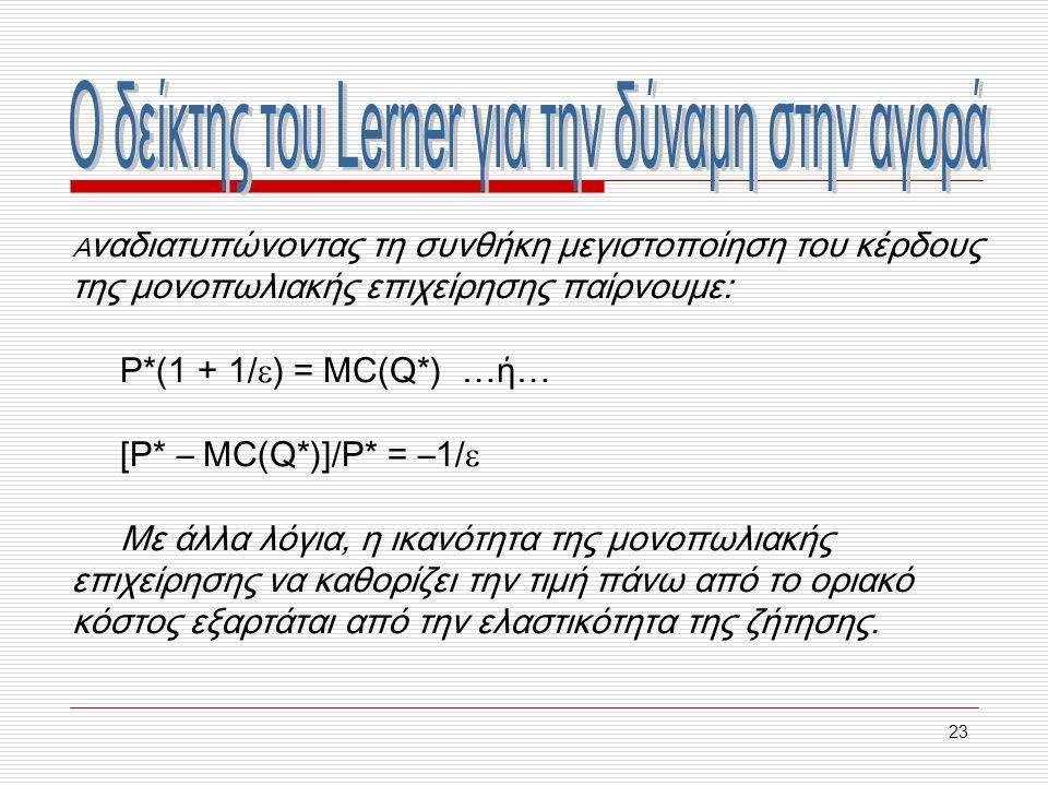 23 Α ναδιατυπώνοντας τη συνθήκη μεγιστοποίηση του κέρδους της μονοπωλιακής επιχείρησης παίρνουμε: P*(1 + 1/  ) = MC(Q*) …ή… [P* – MC(Q*)]/P* = –1/  Με άλλα λόγια, η ικανότητα της μονοπωλιακής επιχείρησης να καθορίζει την τιμή πάνω από το οριακό κόστος εξαρτάται από την ελαστικότητα της ζήτησης.