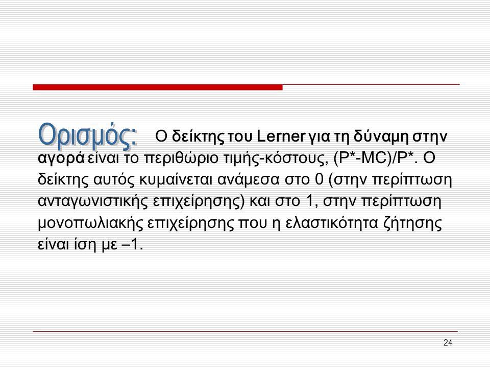 24 Ο δείκτης του Lerner για τη δύναμη στην αγορά είναι το περιθώριο τιμής-κόστους, (Ρ*-MC)/P*.
