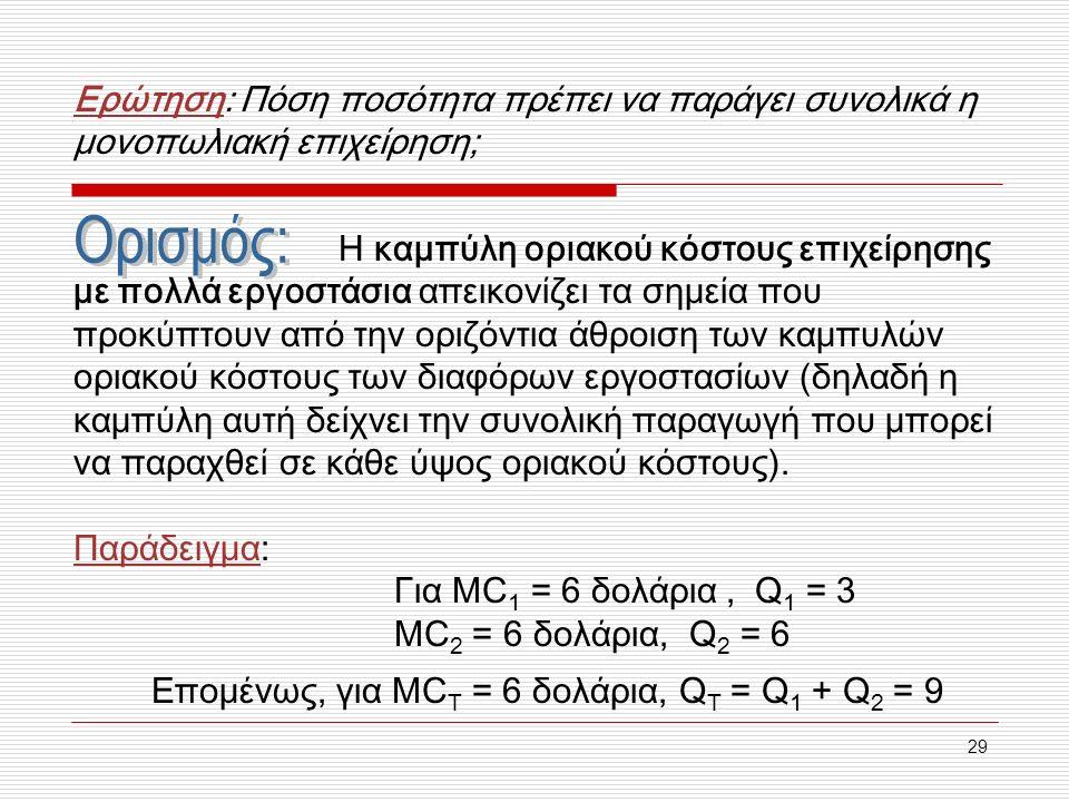 29 Ερώτηση: Πόση ποσότητα πρέπει να παράγει συνολικά η μονοπωλιακή επιχείρηση; Η καμπύλη οριακού κόστους επιχείρησης με πολλά εργοστάσια απεικονίζει τα σημεία που προκύπτουν από την οριζόντια άθροιση των καμπυλών οριακού κόστους των διαφόρων εργοστασίων (δηλαδή η καμπύλη αυτή δείχνει την συνολική παραγωγή που μπορεί να παραχθεί σε κάθε ύψος οριακού κόστους).
