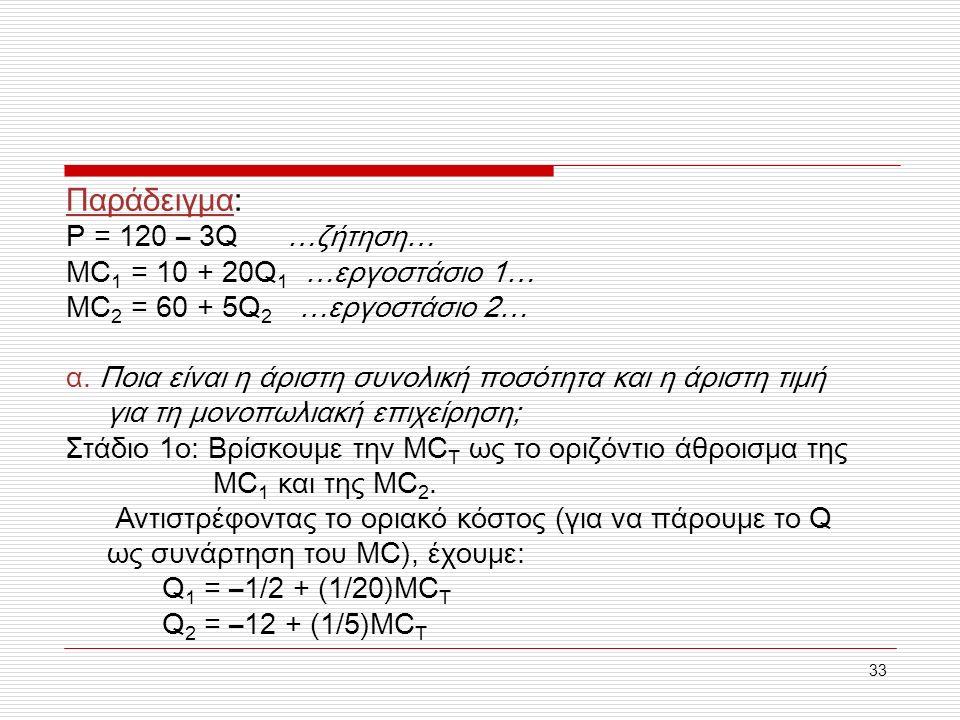 33 Παράδειγμα: P = 120 – 3Q …ζήτηση… MC 1 = 10 + 20Q 1 …εργοστάσιο 1… MC 2 = 60 + 5Q 2 …εργοστάσιο 2… α. Ποια είναι η άριστη συνολική ποσότητα και η ά