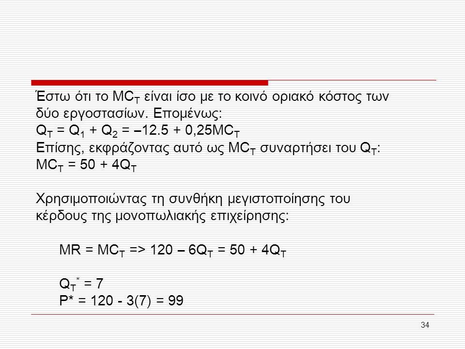 34 Έστω ότι το MC T είναι ίσο με το κοινό οριακό κόστος των δύο εργοστασίων. Επομένως: Q T = Q 1 + Q 2 = –12.5 + 0,25MC T Επίσης, εκφράζοντας αυτό ως
