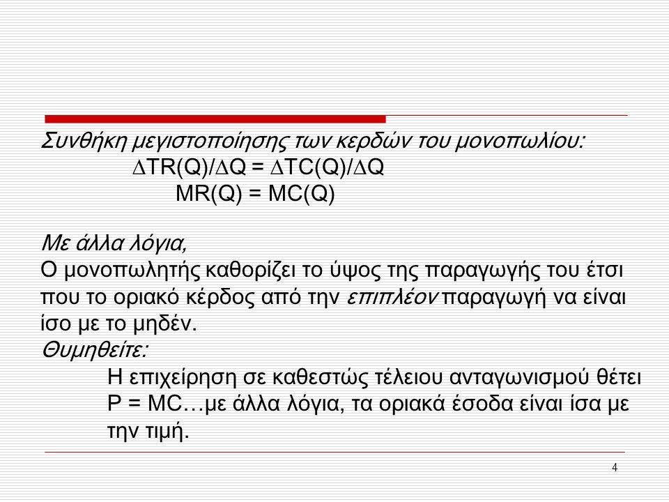 4 Συνθήκη μεγιστοποίησης των κερδών του μονοπωλίου:  TR(Q)/  Q =  TC(Q)/  Q MR(Q) = MC(Q) Με άλλα λόγια, Ο μονοπωλητής καθορίζει το ύψος της παραγ