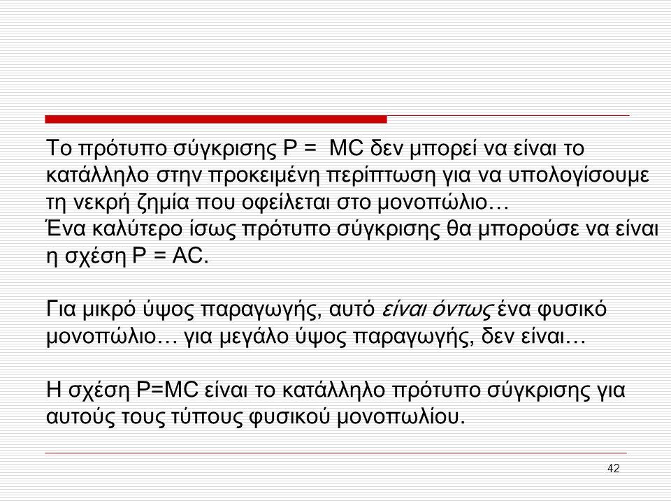 42 Το πρότυπο σύγκρισης P = MC δεν μπορεί να είναι το κατάλληλο στην προκειμένη περίπτωση για να υπολογίσουμε τη νεκρή ζημία που οφείλεται στο μονοπώλιο… Ένα καλύτερο ίσως πρότυπο σύγκρισης θα μπορούσε να είναι η σχέση P = AC.