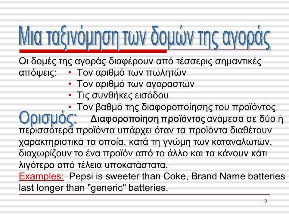 34 Q 1 = 100 – 2P 1 + P 2 (Η ζήτηση της Coca-Cola) Q 2 = 100 – 2P 2 + P 1 (Η ζήτηση της Pepsi) MC 1 = MC 2 = 5 Ποια είναι η υπολειμματική ζήτηση της επιχείρησης 1 όταν η τιμή της επιχείρησης 2 είναι (α) 10 δολάρια, (β) 0 δολάρια; Q 1 10 = 100 – 2P 1 + 10 = 110 – 2P 1 Q 1 0 = 100 – 2P 1 + 0 = 100 – 2P 1 Παράδειγμα: