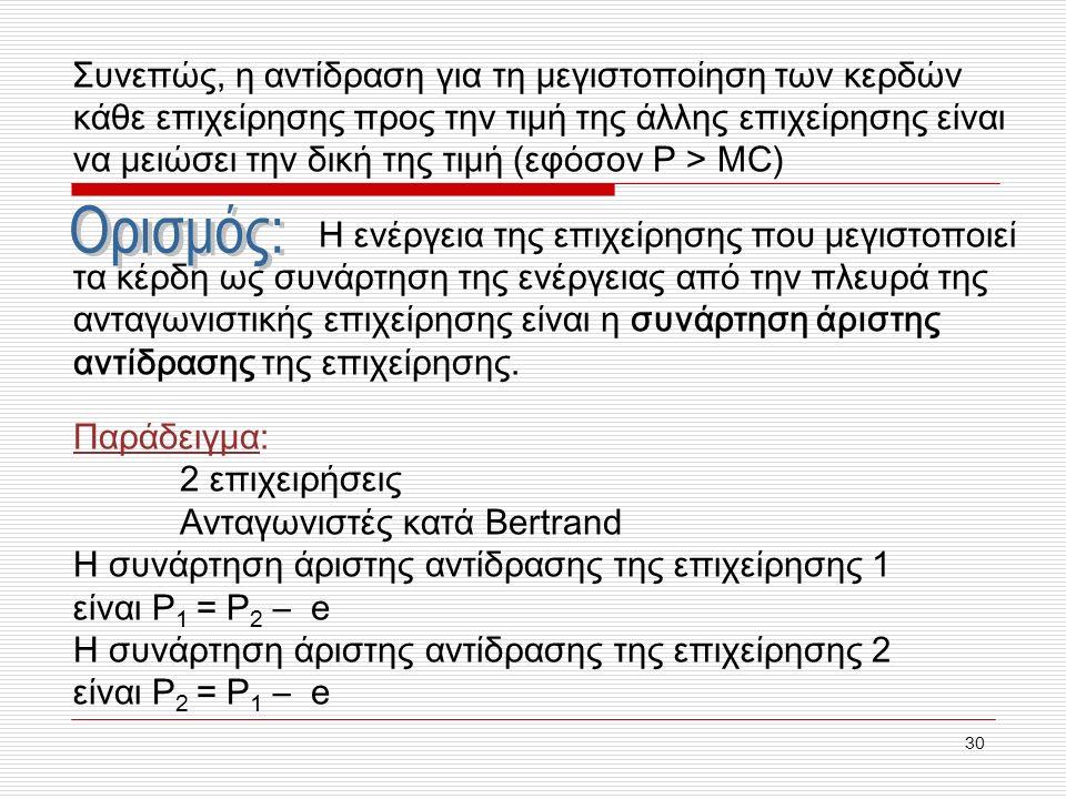 30 Συνεπώς, η αντίδραση για τη μεγιστοποίηση των κερδών κάθε επιχείρησης προς την τιμή της άλλης επιχείρησης είναι να μειώσει την δική της τιμή (εφόσον P > MC) Η ενέργεια της επιχείρησης που μεγιστοποιεί τα κέρδη ως συνάρτηση της ενέργειας από την πλευρά της ανταγωνιστικής επιχείρησης είναι η συνάρτηση άριστης αντίδρασης της επιχείρησης.