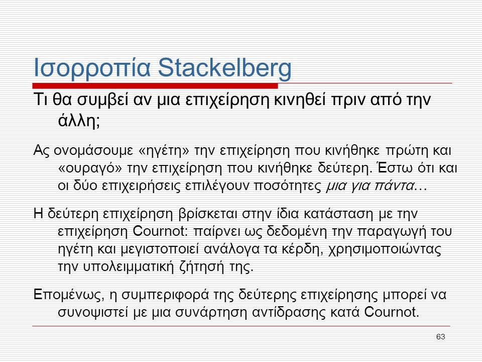 63 Ισορροπία Stackelberg Τι θα συμβεί αν μια επιχείρηση κινηθεί πριν από την άλλη; Ας ονομάσουμε «ηγέτη» την επιχείρηση που κινήθηκε πρώτη και «ουραγό» την επιχείρηση που κινήθηκε δεύτερη.