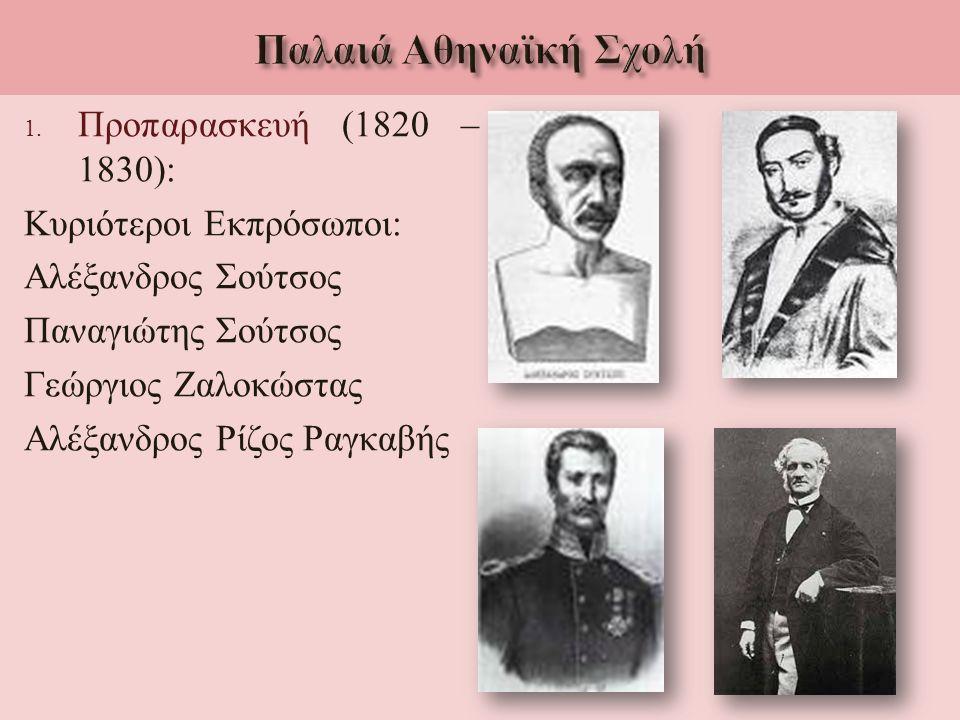 1. Προπαρασκευή (1820 – 1830): Κυριότεροι Εκπρόσωποι : Αλέξανδρος Σούτσος Παναγιώτης Σούτσος Γεώργιος Ζαλοκώστας Αλέξανδρος Ρίζος Ραγκαβής