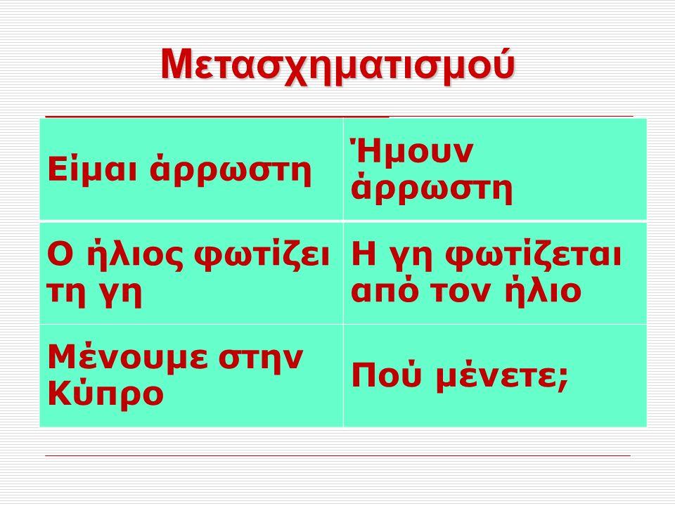 Μετασχηματισμού Είμαι άρρωστη Ήμουν άρρωστη Ο ήλιος φωτίζει τη γη Η γη φωτίζεται από τον ήλιο Μένουμε στην Κύπρο Πού μένετε;